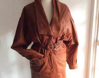 Vintage 80s leather jacket, soft tan leather, S/M ladies jacket, leatherwear.