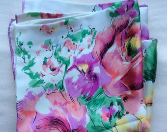 Vintage 60s silk headsquare with hand rolled hems, pink roses on white.