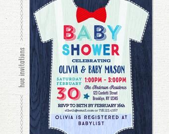 onesie baby shower invitation for boy, navy blue red bow tie baby shower invitation, little man digital printable baby shower invitation