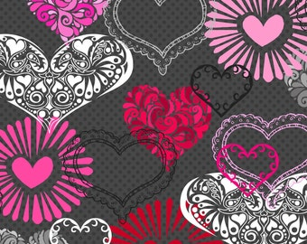 Large Hearts Fabric Fat Quarter, Third Yard, Half Yard, or By-The-Yard; 1036-99; Henry Glass Fabrics; Adore
