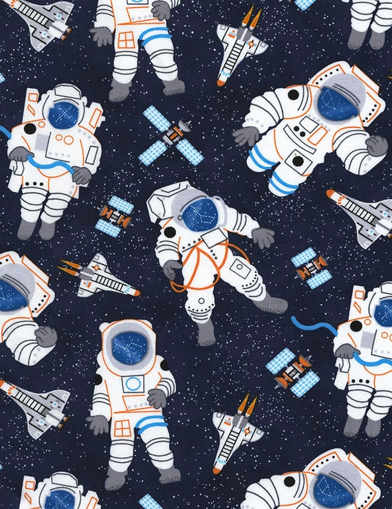 Astronauts fabric timeless treasures c5120 space fabric for Space fabric by the yard