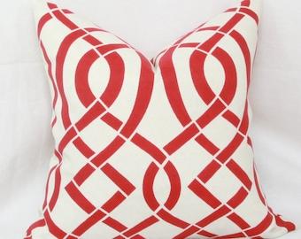 "Red & ivory trellis indoor/outdoor decorative throw pillow cover. 18"" x 18"" toss pillow."