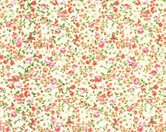 Packed Flowers Yellow by Lecien (5101-50) Cotton Fabric Yardage