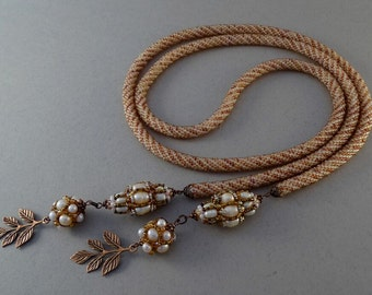 Beaded Lariat Necklace//Crocheted Rope//Baroque//Pearl//Copper//Free Shipping