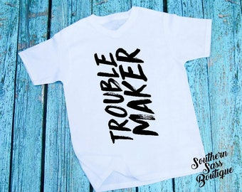 Trouble maker tee, Little boys shirt, Boys tees, Toddler shirt, Toddler clothing, Boys shirt, Boys onesie, Little boys, Cute kids clothing