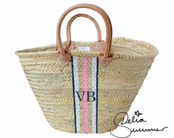 Beach Monogram Basket *** custom made initials *** monogram straw bag, personalized tote