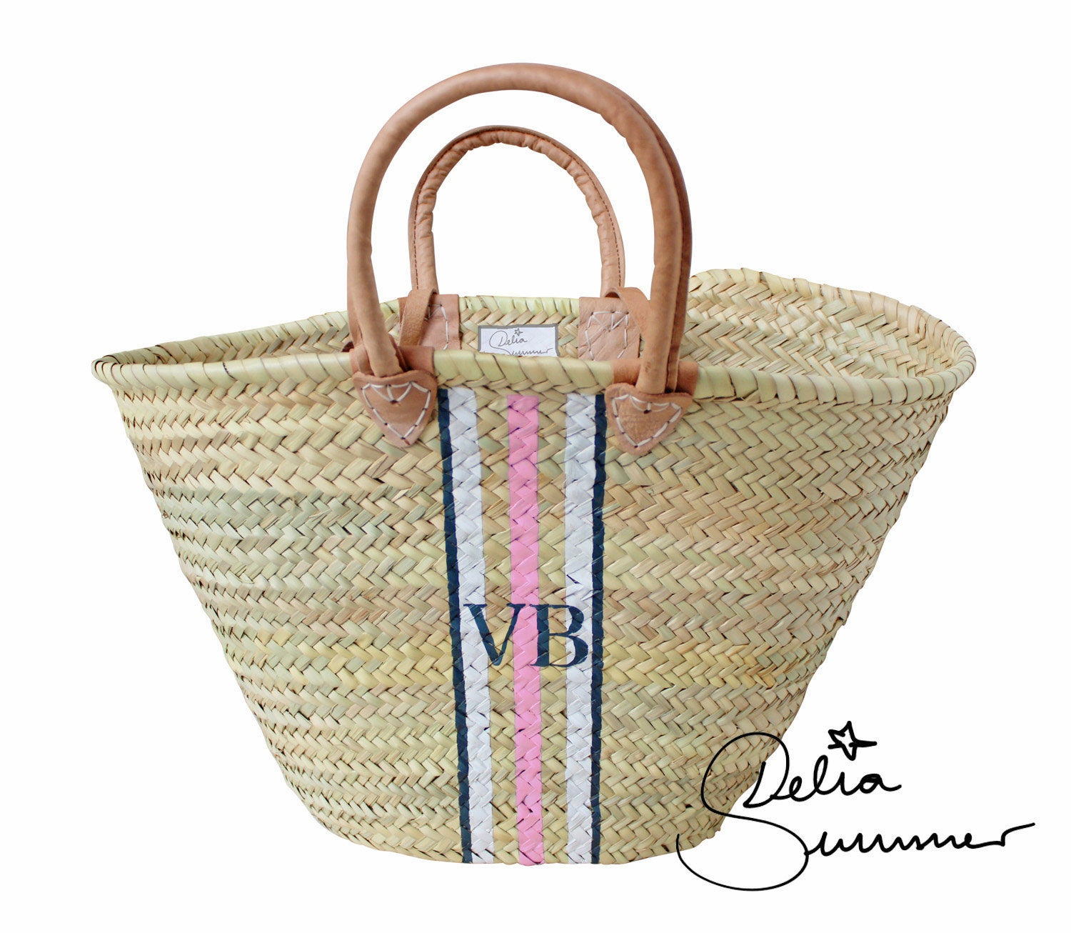 Beach Monogram Basket custom made initials monogram