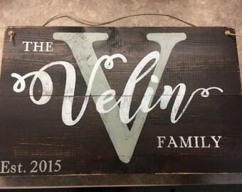 Rustic Custom Family name sign