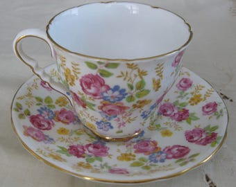 ROYAL STAFFORD English Bone China cup and saucer, June Roses