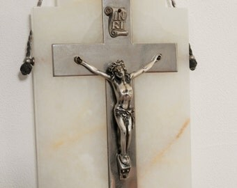 Antique French Religious Cross / Crucifix. Vintage Silver and Marble Cross. 1800s. Church Wall Hanging Cross. French Decor. Home Decor. Rare