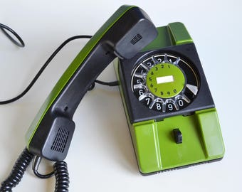 Wall Mount Phone 80s Home Decor, Green Telephone, Never Used Vintage Rotary Phone, Oldschool Electronics, Gift For Him, Vintage Office Decor