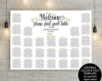 Printable wedding seating chart template alphabetical