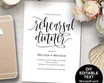 Printable wedding rehearsal dinner, Rehearsal dinner invites, rehearsal dinner invitation, DIY, invitation template, rustic
