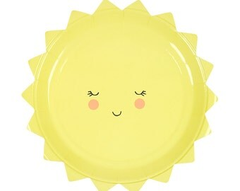 Small Sun Paper Plates, Meri Meri Summer Paper Plate, Small Paper Plates, Baby Shower Plates, You Are My Sunshine Birthday Party, Sun Plate