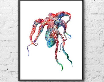 Ocean art, octopus print, nautical decor, ocean animal print, octopus art, sea life art print - 143A