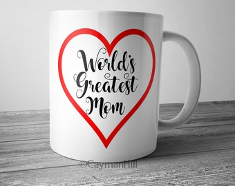 World's Greatest Mom Coffee Mug 11 oz White Ceramic Cup Motherhood Parenting Mothers Day Gift