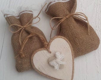 Burlap and Lace Favor Bag - Burlap Wedding Favour Bag- Rustic Favor Bag - Rustic Wedding Favor - Gift Bag - Rustic Wedding - Set of 25