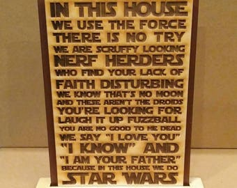 In this house...Star Wars Plaque