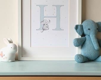 Baby Elephant on Letter Nursery Wall Art