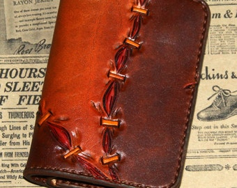 Frankenstein small wallet (leather wallet, frankenstein, zombie, horror, blood, goth, brown wallet)