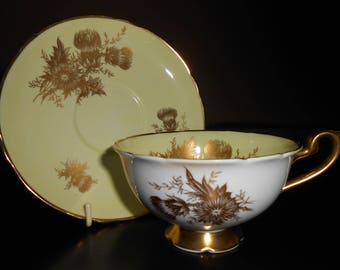 Shelley China Yellow Thistle and Gold Cup & Saucer