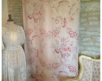 Divine faded to perfection antique vintage French 1930s pinks rose basket, love birds romantic textile fabric hanging curtain~ so beautiful!