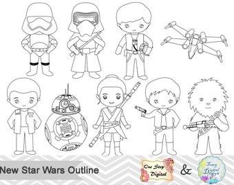 Black White Outline Star Wars Digital Clip Art, Star Wars Outline Clip Art, Star Wars Outline Clipart, Star Wars Digital Line Art 0239