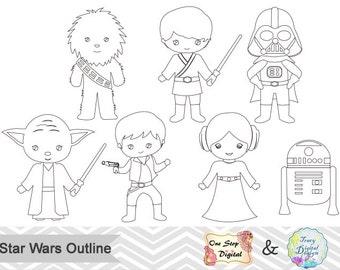 Black White Outline Star Wars Digital Clip Art, Star Wars Outline Clip Art, Star Wars Outline Clipart, Star Wars Digital Line Art 0240