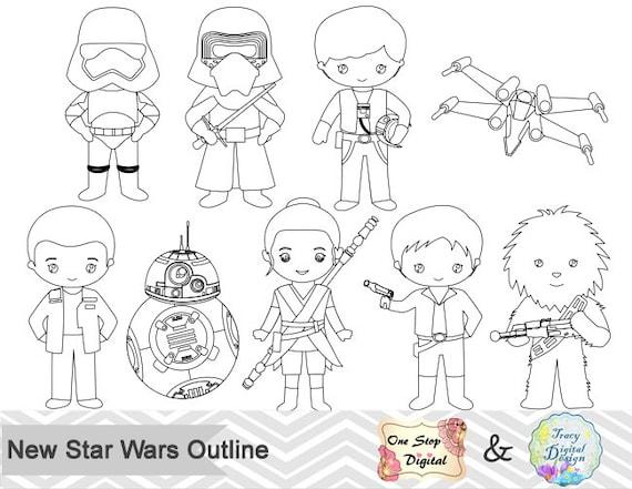 black white outline star wars digital clip art star wars