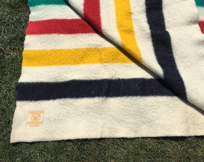 Featured listing image: 1930s Hudson Bay Company 4 Point Blanket Stripe Blanket Queen Size