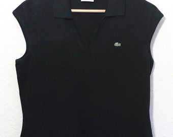 Lacoste Vintage Retrò Polo Tennis Shirt Black Woman V-neck