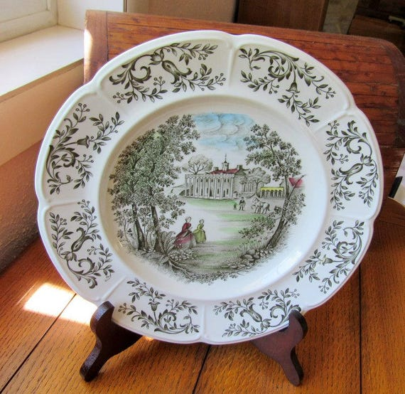 Mount Vernon Green 10 Inch Plate Windsor Ware Johnson Bros England Hand Engraved