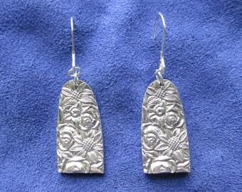 Sunflowers, Roses, Spoon Jewlery, Earrings, Silverware Earrings, Spoon Earrings, Silverware Jewelry, Silver Earrings, Japan, (Item E0270)