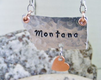 Montana state MT Necklace pendant jewelry mixed metals copper silver unique gift heart  texture