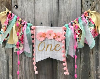 BOHO WILDFLOWER FLORAL First Birthday Highchair Banner Aztec Feathers Teepee Garland Dreamcatcher Boho Wild One Crown Backdrop Photo Prop