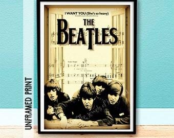 Teacher Gift - The Beatles Sheet Music Art - Fathers Day Gift - Mothers Day Gift - Paul McCartney - Ringo Starr - John Lennon - Music Poster