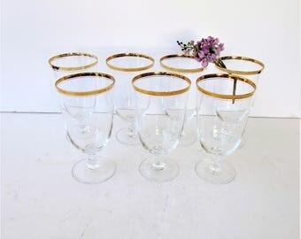 Set of 7 Gold Rimmed Wine or Water Glasses - Water Goblets  - Wine Goblet - Fine Crystal - Hollywood Regency Elegance - Footed Glass