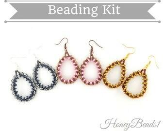 Beading kit + PDF-file Beading Pattern Droppallete Earrings, Beading Tutorial by HoneyBeads1