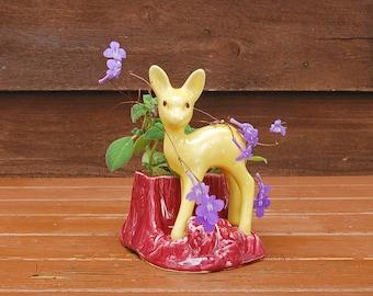 Shawnee Pottery Planter, Vintage Deer Planter, Ceramic Planter, Cute Little Yellow Deer on Stump Planter Vase, Shawnee Deer, Flower Pot