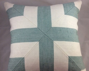 Schumacher Augustine Stripe in seaglass geometric styled pillow cover