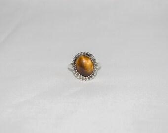 Vintage 1980s Sterling Silver Tiger's Eye Ring, Size 5 1/2