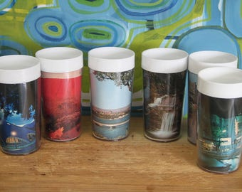 Vintage 1960's Melmac Tumblers  Souvenirs of the capital cities of Australia (6)