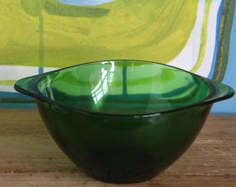Vintage French Vereco 1970's Green Glass Small Bowl