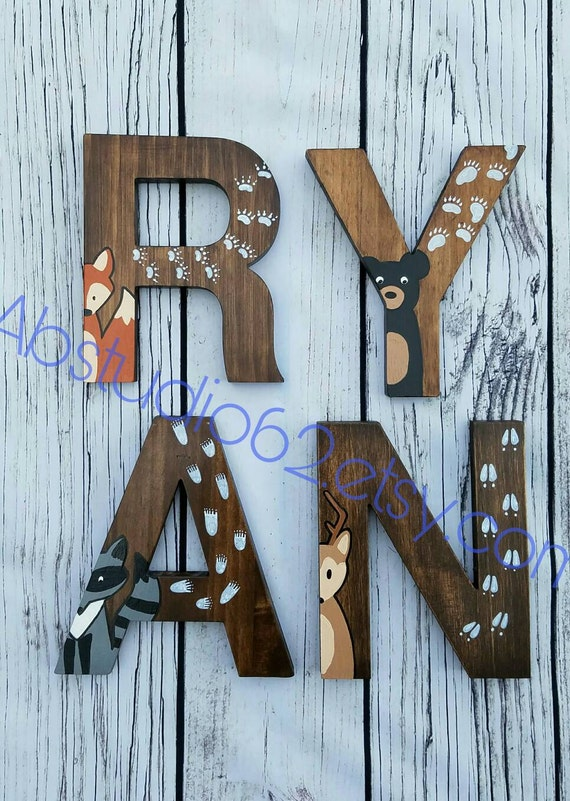 Wooden letters for nursery woodland nursery decor hand - Wood letter wall decor ...