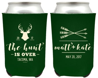 The Hunt is Over Wedding Can Coolers, Hunting Wedding Beer Huggies, Rustic Deer Hunt is Over Wedding Favor, Custom Hunting Beer Coolers (46)