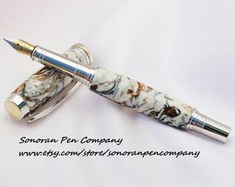 Artisan Oriental Koi Fountain Pen in Rhodium