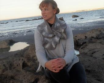Atlantic Collection : Grey Felt Ruffle Collar