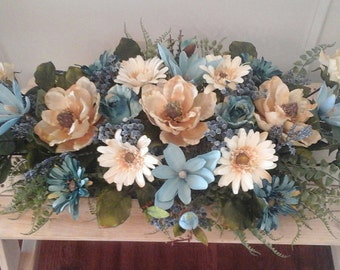 Floral Arrangement, Magnolia Silk Floral Centerpiece, SHIPPING INCLUDED, Large Elegant Luxury Modern Silk Floral Home Décor