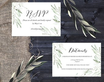 Olive and wisteria watercolor wedding RSVP and Details card, Printable Wedding Invitations, Wedding template, Instant Download.