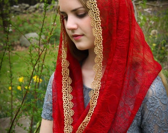 Evintage Veils: Pentecost Red & Gold  Ultra Soft Lace Infinity Chapel Veil Mantilla SOFT!!!